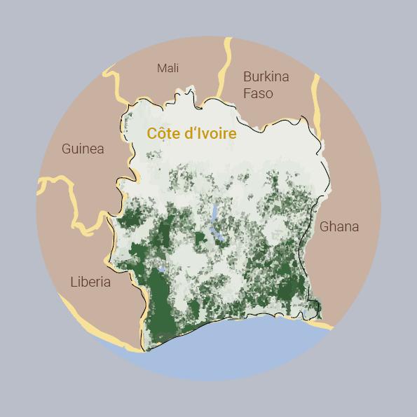 Karte Entwaldung Elfenbeinküste im Jahr 1990